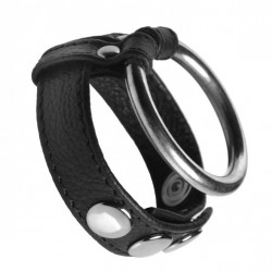 Leather and Steel Cock and Ball Ring
